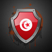 Shield with the image of a flag of Tunisia. — Stock Vector