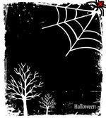 Fondo de halloween de grunge con árbol y araña — Vector de stock