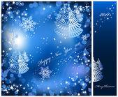 Fundo azul com brilhos de estrelas. vector — Vetor de Stock