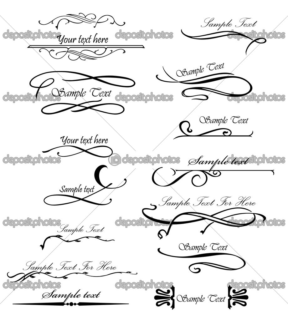 Set typographical and ornamental design elements. Vector illustration  Stock Vector #4007097