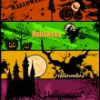 Set Halloween banners in different colors. Vector — Vector de stock