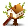 Royalty-Free Stock Vector Image: House on tree with ladder. Vector illustration