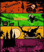 Set Halloween banners in different colors. Vector — Stock Vector