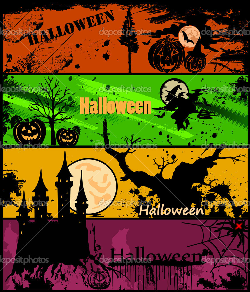 Set of 4 Halloween banners in different colors. Vector illustration — Stock Vector #4043715