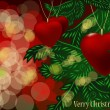Royalty-Free Stock Vector Image: Christmas branches and ball in form heart. Vector