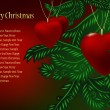 Christmas branches and ball in the form heart — Imagen vectorial