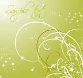 ゴールドの背景上にパターンと輝く星 — ストックベクタ