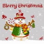 Vánoční přání s sněhulák a ptáky. vektor — Stock vektor