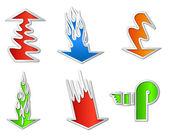 Pegatinas de colores flecha set. ilustración vectorial — Vector de stock