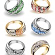 Set wedding rings and diamonds. Vector — 图库矢量图片 #4230911