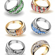 Set wedding rings and diamonds. Vector — Stockvektor #4230911