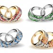 Vector de stock : Set wedding rings and diamonds. Vector