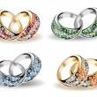 Установить обручальные кольца и алмазов. Вектор — Cтоковый вектор