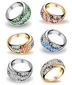 Set wedding rings and diamonds. Vector — Stock Vector