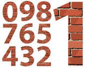 Set vector brick digit alphabet (digit) — Stockvector