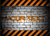 Warning-Hazard and brick wall. Vector — Stock Vector