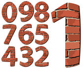 Set vector brick digit alphabet (digit) — Stock Vector