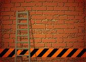 Ladder Against Brick Wall. Vector illustration — Stock Vector