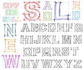 Sketch design hand drawn alphabet. Vector — Stock Vector