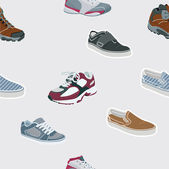 Seamless shoes, sneakers. Vector background — Vettoriale Stock