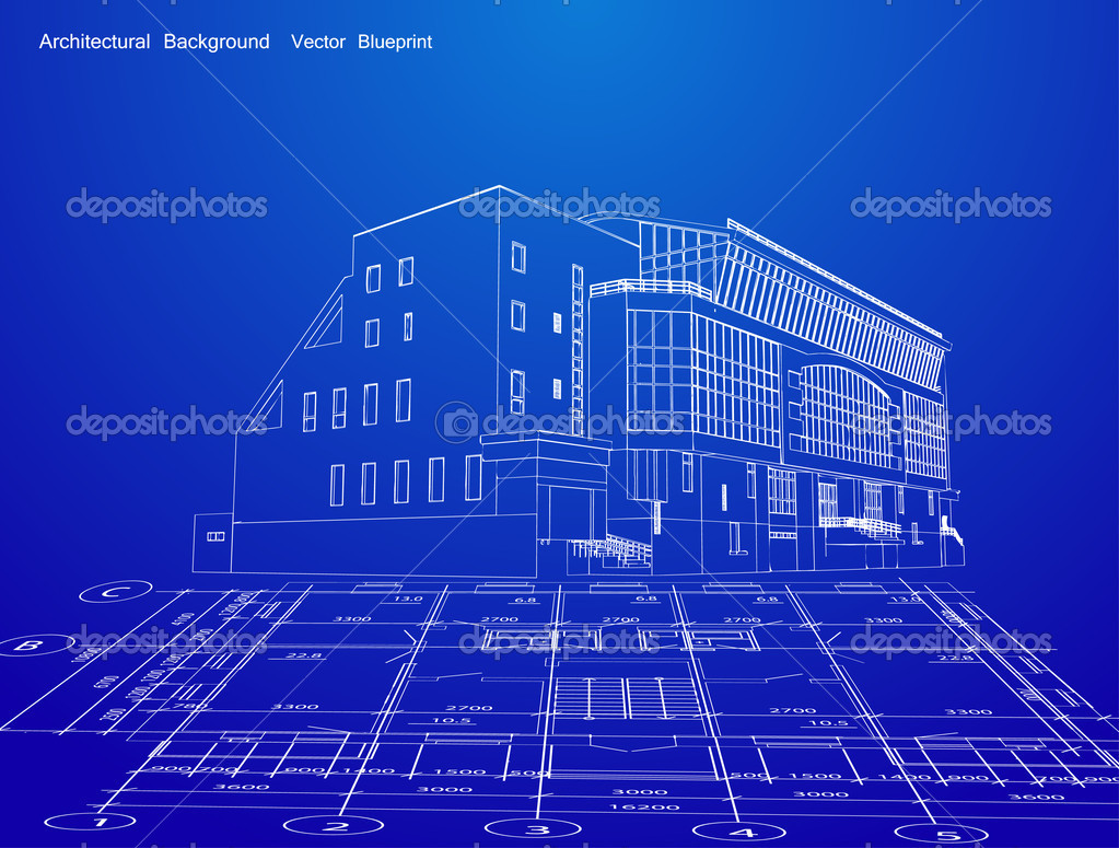 Architecture Blueprint Of A House. Vector — Stock Vector