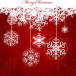 Christmas red Background With Snowflakes — Image vectorielle