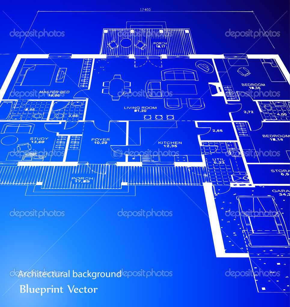 3d Blueprint House Vector Technical Draw Royalty Free Stock Photo