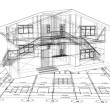 Architecture Blueprint Of House. Vector — Stok Vektör #4357444