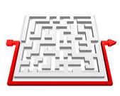 Path across labyrinth. Vector — Stock Vector