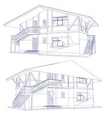 Architecture Blueprint Of A two House. Vector — Stock Vector