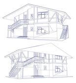 Planos de arquitectura de una casa de dos. vector — Vector de stock