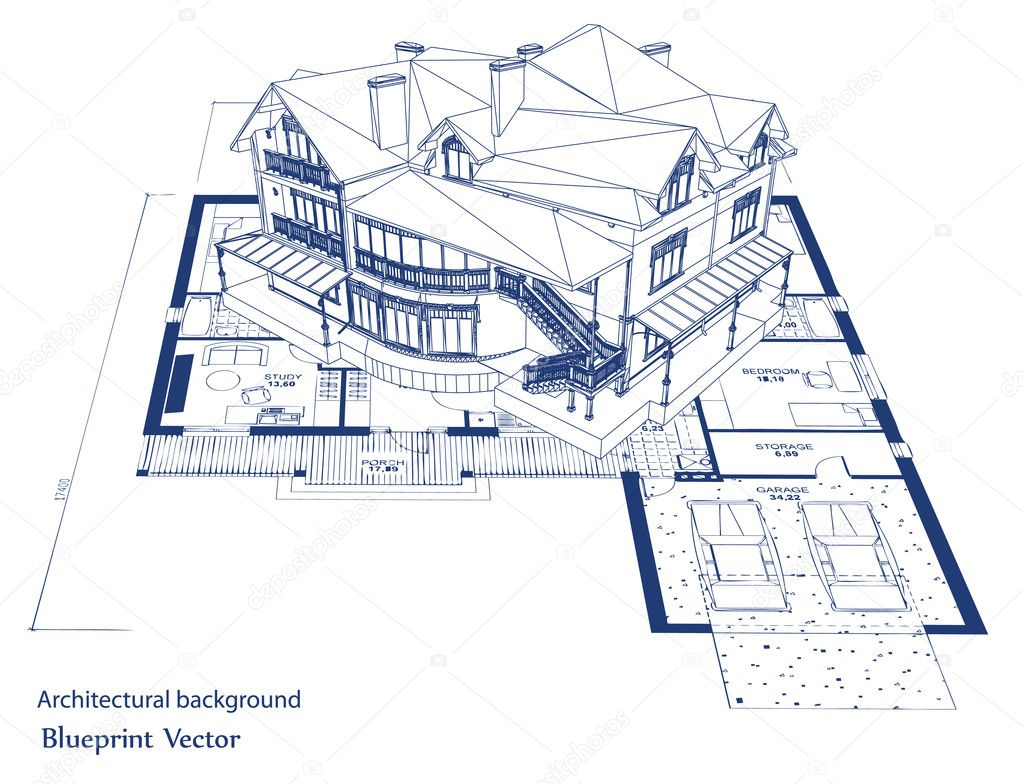 Architecture blueprint of a house vector stock vector for House blueprint images