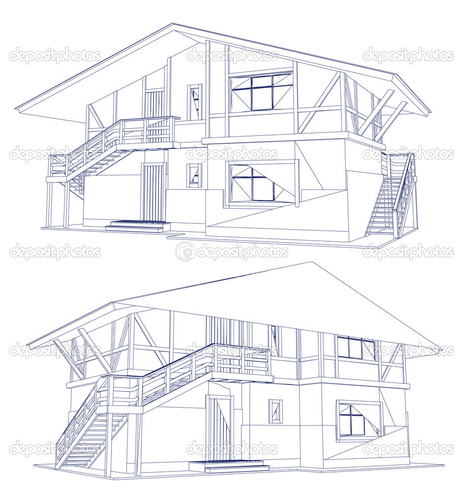 Architecture Blueprint Of A Two House Vector Stock