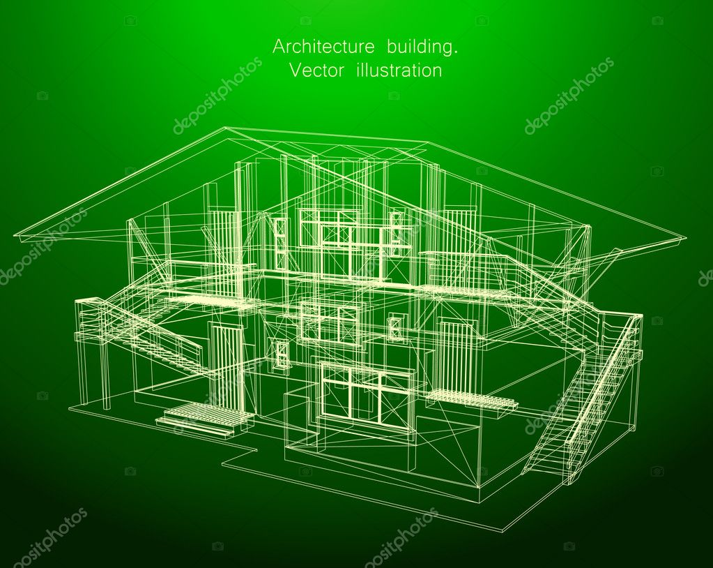 Architecture Blueprint Green House Vector