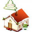 Xmas greeting card. Christmas vector house — ストックベクター #4405597