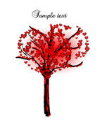 Tree with hearts for valentine day. Vector — Stock Vector