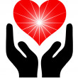 Image of the hands holding red heart. Vector - Stock Vector