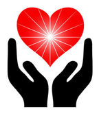 Image of the hands holding red heart. Vector — Stockvector