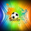 Stock Vector: Rainbow ink background with soccer ball. Vector
