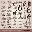 Calligraphic vintage design elements. Vector set — Stock Vector