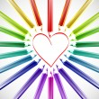 Heart With Color Pencils. Vector — Imagens vectoriais em stock