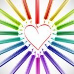 Heart With Color Pencils. Vector — Stock Vector