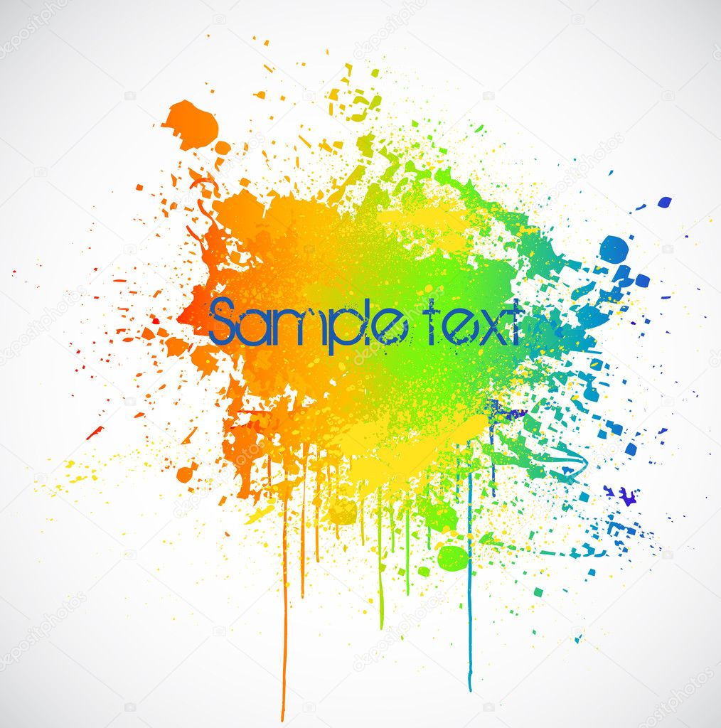 Illustration of color paint splashes on white background. — Stock Vector #4936325