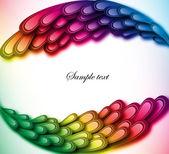 Rainbow floral retro card design. Vector art — Stock Vector