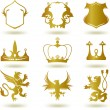 Stock Vector: Set heraldic gold elements. Vector