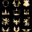 Set heraldic gold elements on black . Vector - Stock Vector