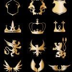Set heraldic gold elements on black . Vector — Stock Vector #4956267