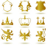 Set heraldic gold elements. Vector — Stock Vector