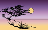 Vector tree silhouette in japanese style. Vector — Stock Vector