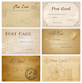 Vintage blank postcard. Vector set — Stock Vector